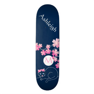 Pretty Cat Cherry Blossoms Moon Pink Sakura Blue Skateboard