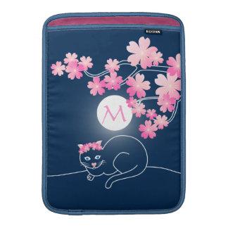 Pretty Cat Cherry Blossoms Moon Pink Sakura Blue Sleeve For MacBook Air