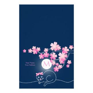 Pretty Cat Cherry Blossoms Moon Pink Sakura Blue Stationery