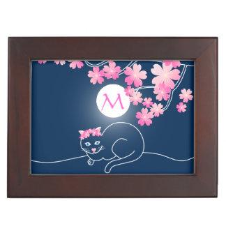Pretty Cat Cherry Blossoms Night Pink Blue Sakura Keepsake Box