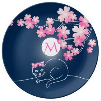 Pretty Cat Cherry Blossoms Night Pink Blue Sakura Porcelain Plates