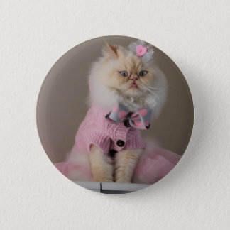Pretty  cat  in Pink Sweater Button