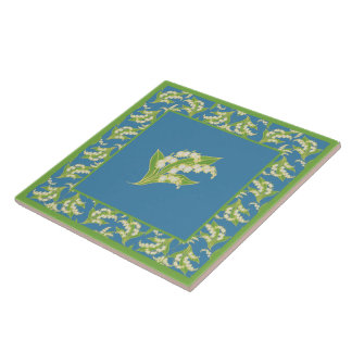 Pretty Ceramic Tile: Lilies of the Valley, Blue Ceramic Tile