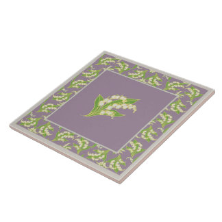Pretty Ceramic Tile: Lilies of the Valley, Mauve Large Square Tile