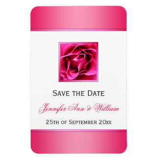 Pretty Cerise Pink Rose Floral Save the Date Magnet
