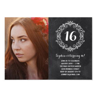 Pretty Chalkboard | Photo Sweet Sixteen Birthday Card
