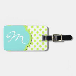 Pretty Chartreuse & Aqua Monogram Luggage Tag