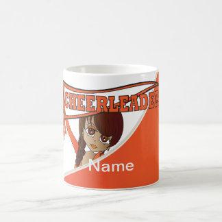 Pretty Cheerleader Girl in Orange | Personalize Coffee Mug