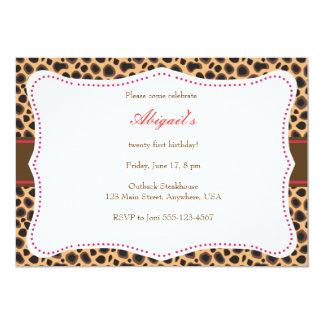 """Pretty Cheetah Invitation 5"""" X 7"""" Invitation Card"""