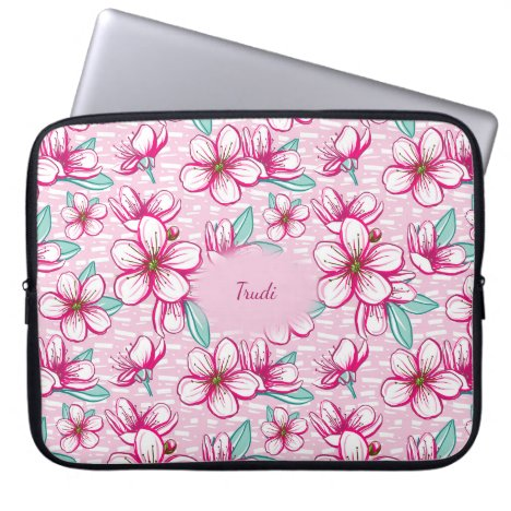 Pretty Cherry Blossom Personalized Laptop Computer Sleeve