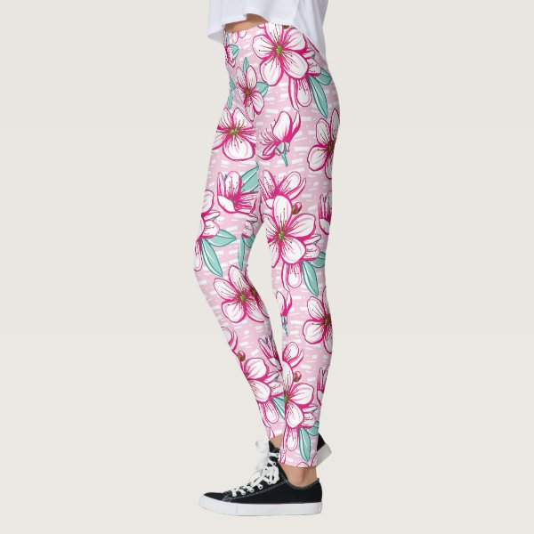 Pretty Cherry Blossom Pink Leggings