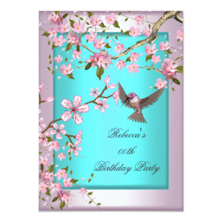 Pretty Cherry Blossom Teal Blue Pink Party 2 4.5x6.25 Paper Invitation Card