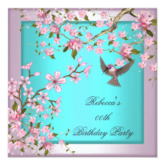 Pretty Cherry Blossom Teal Blue Pink Party Card