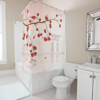 Pretty Cherry Blossoms Against A Japanese Shrine Shower Curtain