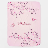 Pretty Cherry Blossoms Monogram Stroller Blanket