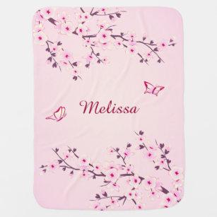 Pretty Cherry Blossoms Monogram Stroller Blanket