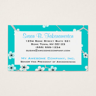 Pretty Cherry Blossoms - Turquoise Blue Business Card