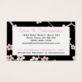 Pretty Cherry Blossums - Black and Pale Pink Business Card