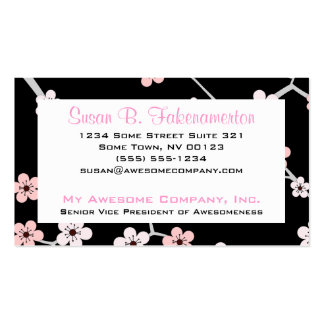 Pretty Cherry Blossums - Black and Pale Pink Business Card Template