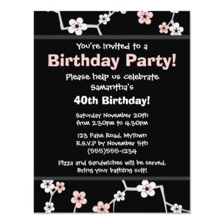 Pretty Cherry Blossums - Black and Pale Pink Party Card