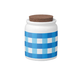 Pretty Chic Blue Gingham Checked Fabric Pattern Candy Dish