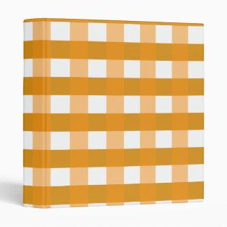 Pretty Chic Orange Gingham Checked Fabric Pattern Binders