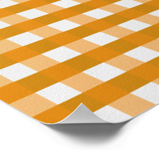 Pretty Chic Orange Gingham Checked Fabric Pattern Poster