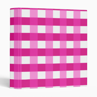 Pretty Chic Pink Gingham Checked Fabric Pattern Binder