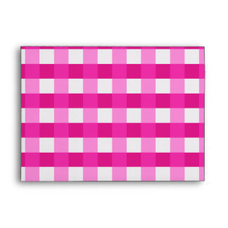 Pretty Chic Pink Gingham Checked Fabric Pattern Envelope