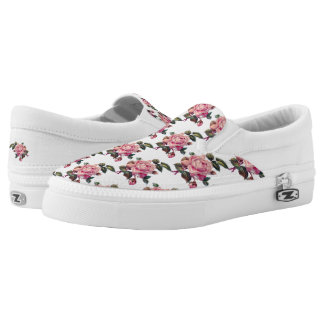 Pretty Chic Pink Rose Flower Floral Pattern Slip-On Sneakers