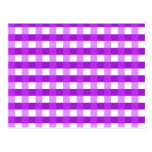 Pretty Chic Purple Gingham Checked Fabric Pattern Postcards