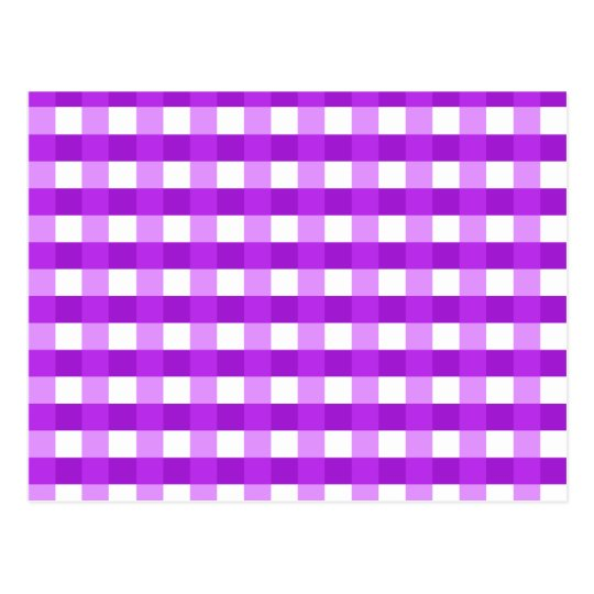Pretty Chic Purple Gingham Checked Fabric Pattern Postcard