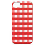 Pretty Chic Red Gingham Checked Fabric Pattern iPhone 5 Cases