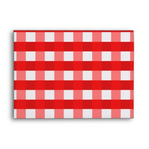 Pretty Chic Red Gingham Checked Fabric Pattern Envelope