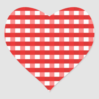Pretty Chic Red Gingham Checked Fabric Pattern Heart Stickers