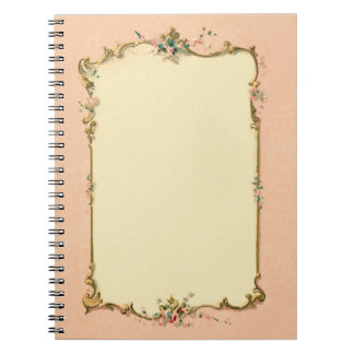 Pretty Chic Vintage French Blank Page Border Spiral Notebook