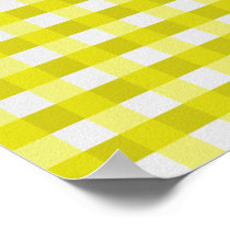 Pretty Chic Yellow Gingham Checked Fabric Pattern Poster