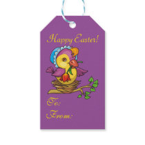 Pretty Chick Nesting Flowers Purple EasterGift Tag