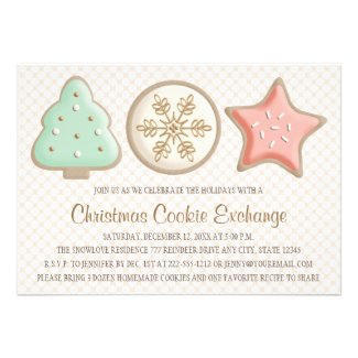 PRETTY CHRISTMAS COOKIE SWAP INVITATIONS