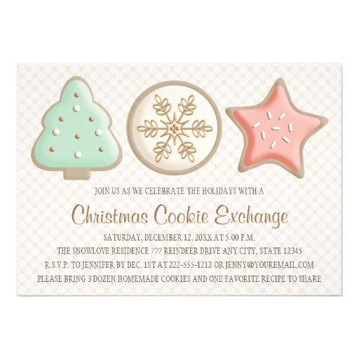 PRETTY CHRISTMAS COOKIE SWAP INVITATIONS