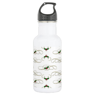 Pretty Christmas Swirls & Holly Water Bottle
