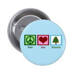 Pretty Christmas Tree Blue Peace Sign Heart Button