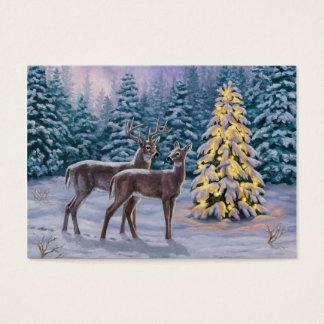 Pretty Christmas Tree & Deer Snow Scene Business Card