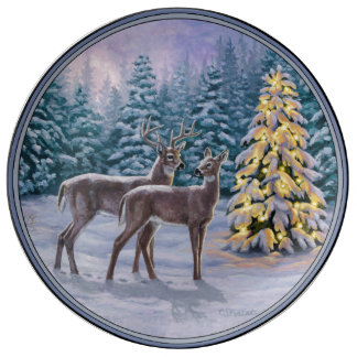 Pretty Christmas Tree & Deer Snow Scene Porcelain Plate