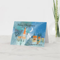 Pretty Christmas Village Scene Custom Typography Card