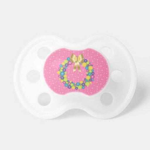 Pretty Christmas Wreath in Pink BooginHead Pacifier