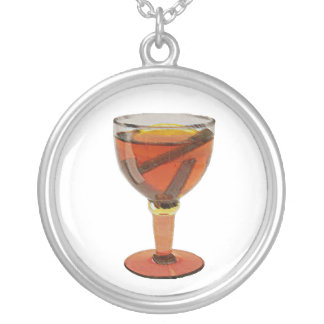 Pretty Cider Drink Round Pendant Necklace