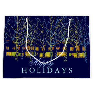 Pretty City Lights Happy Holidays Large Gift Bag