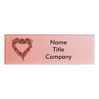 Pretty Classy vintage Wreath of Red Roses Heart Name Tag