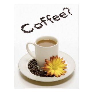 Pretty Coffee Cup with Flower Postcard